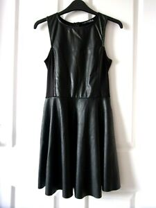 """Leather Look Dress Size 10,Atmosphere.Black.Fabric Sides/Back.Flared.Mini L31""""."""
