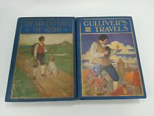 2 Antique Books Gullivers Travels Adventures Remi Rand McNally Windermere Book