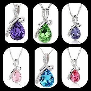 18K White Gold Made With Swarovski Crystal Angel Teardrop Necklace choose color