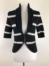 White House Black Market Women Cardigan Sweater Black White Stripe Crochet Small