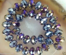 298pc 4x6mm Faceted Rondelle Crystal Glass Loose Washer Violet AB