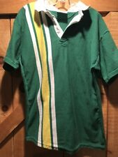 Mens Halbro Rugby Imports Short Sleeve Polo Shirt Green Stripe Size Large