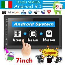 """2 DIN 7"""" Autoradio Android 9.1 GPS Navi BT MP5 Mirror Link STEREO LETTORE 1+16G"""