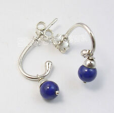 """925 Pure Silver High End LAPIS LAZULI BEADED RICHFEEL Studs Earrings 0.9"""" NEW"""