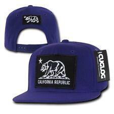 Purple California Cali Republic Flag Bear Black Patch Snapback Caps Cap Hats Hat
