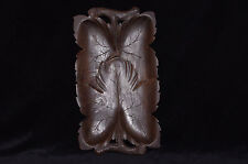 antique 1900 wooden wood hand carved platter tray leaf grape black forest signed