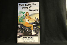 Vtg Hooters Gril Uniform Bike Night Harley Davidson Biker Promo Sign Mini Poster
