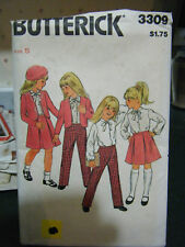Vintage Butterick 3309 Girl's Jacket, Blouse, Skirt & Pants Pattern - Size 5