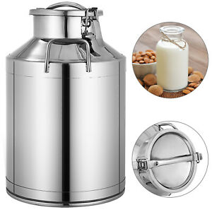 30L 8 Gallon Milk Cans 304 Stainless Steel Pail Bucket Jug Oil Barrel Canister