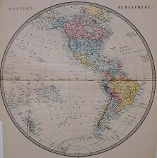 1884 LETTS MAP THE WORLD WESTERN HEMISPHERE UNITED STATES AMERICA NEW ZEALAND