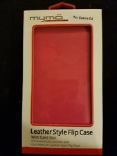 sony xperia c4 leather flip case black/pink