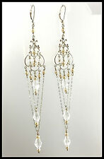 VINTAGE .925 Sterling Silver, Crystal & Faux Pearl, Dangling Chandelier Earrings