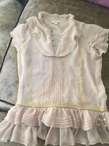 Vintage Pepe Jeans Sheer Blouse Eith Frills XS