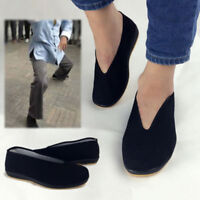 Men Slip-On Chinese Kung Fu Shoes Martial Art Cotton Rubber Soles Tai Chi Black