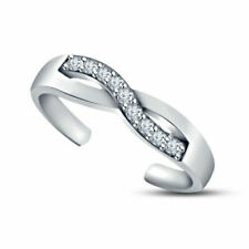 Toe Ring Real 925 Sterling Silver Ladies Infinity Fashion Adjustable Midi Finger