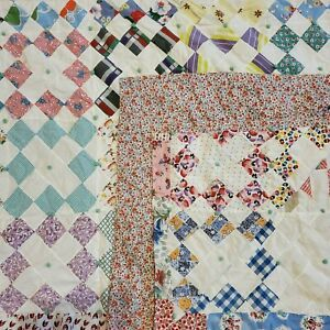 Vintage Antique Quilted Bed Coverlet Handmade 78x68 Inch
