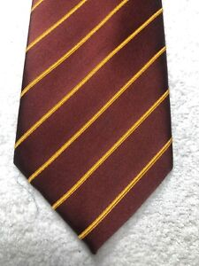 PUCCINI MENS TIE BROWN WITH GOLD STRIPES 3.5 X 65 EXTRA LONG NWOT