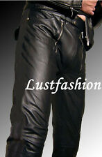 Pantalones de cuero negro кожаные штаны uniforme de cuero de cuero forraje Leather Trousers Pants