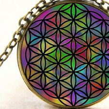 New Rainbow Flower of Life, Sacred Geometry Bronze Necklace Ladies or Men's Gift