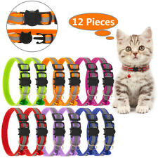 Cat Collar with Bell (12pcs/Set) Mixed Colors Reflective Cat Collars 8� to 12�