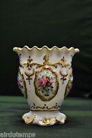 Jarrón Porcelana de Paris Finxixe Blanca & Dorada Ramos Flores HT 10cm