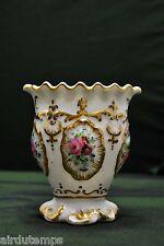 VASE PORCELAINE de PARIS finXIXè blanche & dorée bouquets fleurs Ht 10cm