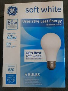 GE 60W Lighting  A19 Halogen Bulb Soft White, 43W 620 lumens  4 Bulbs 66247