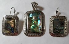Mexican Jewelry Abalone Metal Necklace Pendant / Pierced Earring Set