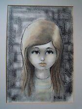 Vintage década de 1960. pintura mixta grandes ojos chica por Angelo FR 1961