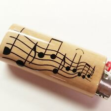 Musical Notes Musician Music Lighter Case Holder Sleeve Cover Fits Bic Lighters