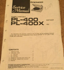 PIONEER PL-400 PL-400X STEREO TURNTABLE ORIGNAL SERVICE REPAIR MANUAL