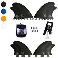 Quad Surfboard Fins (4 Fins) - Perfect Flex with Honeycomb (FCS, Black)