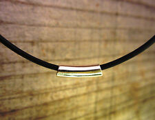 YOLLA Sterling Silver Tube Bead Leather Cord Necklace - Sterling Silver Ends