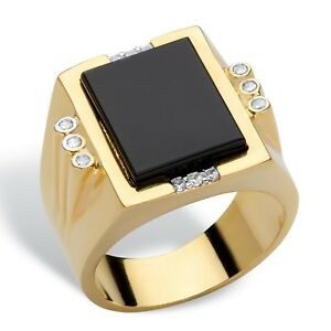 MENS EMERALD CUT ONYX GOLD STAINLESS STEEL CZ RING SIZE 8 9 10 11 12 13