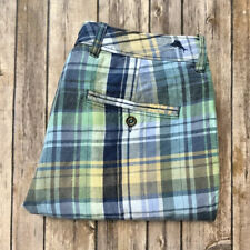 Tommy Bahama Men's 30 Linen Blend Blue Green Plaid Check Casual Bermuda Shorts