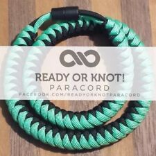 550 Paracord Snake Weave Survival Necklace Mint / Black (21 inches)