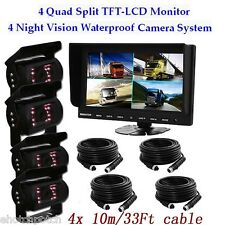 "9"" Quad Split Car Reversing Monitor 4ch Video+IR 4 CCD Backup Camera 24V-12V Kit"