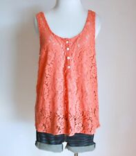 VOLCOM Pascun Floral Lace Henley Scoop Neck Knit Cami Tank Top Shirt Blouse M 12