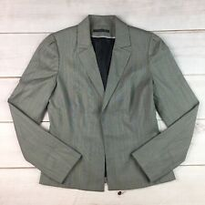 $418 Elie Tahari Women's Gray Plaid Wool Open Front Blazer Jacket Small 6
