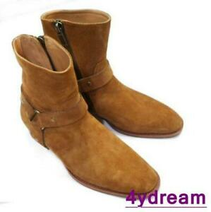 Men's High Top Chelsea Ankle Boots Suede Leather Vintage Mid Heels Shoes Size