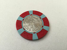 McCarlie's Gold Club $5 Poker Chip Red & Baby Blue Sparks Nevada Late 70s 13g