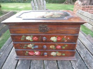 Vintage Small Table Top  3 Drawer Chest of Drawers / Mirror .