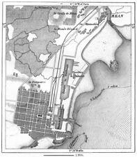 France. st nazaire, croquis cartographique c1885 old antique vintage plan graphique