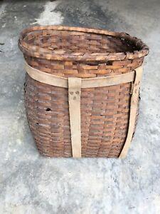 Vintage Wood Woven Adirondack Trapper Backpack Hiking Pack Basket Needs Repair