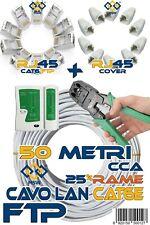 CAVO LAN 50 MT METRI CAT6E FTP SCHERMATO % IN RAME TESTER CRIMPATRICE PLUG COVER
