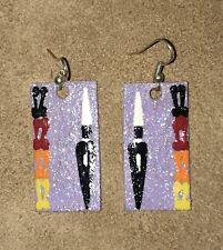 Native American Painted Rawhide Earrings.