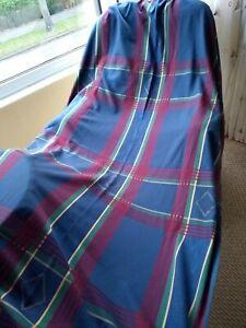"Tartan Check Curtains 48""W x80""L Vintage Gorgeous Blues/Purple/Red/Jade Quality"