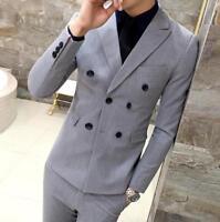 Mens Double breasted Blazer Lapel Coat Vest Slim Fit Jacket Pants Suits 3Pcs SS