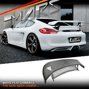 TECHART Style Carbon Fibre Rear Trunk GT Spoiler Wing for Porsche 981 Cayman