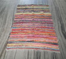 Hand Loomed Indian Vintage Chindi Rug Throw Large Area Runner Cotton Sari Rag